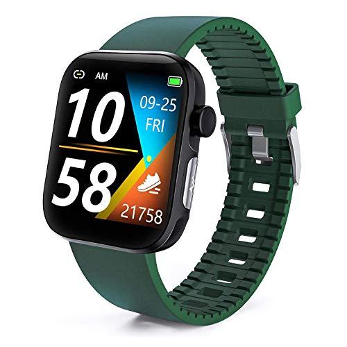 DOOK Smartwatch con Oxímetro De Pulso Esfigmomanómetro Y Pulsómetro Reloj Inteligente Impermeable para Hombre Mujer, Pulsera De Actividad Inteligente Podómetro para Android IOSGreen