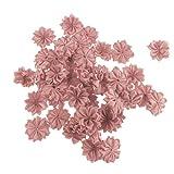 perfeclan 50pcs Flores Artificiales para Costura de Manualidades, Adorno para Boda Navidad Vestido de Novia Clips de Pelo - Rosa empolvado