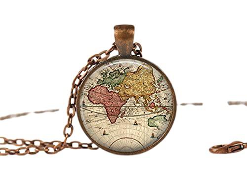 Jewellery World, collana con ciondolo a forma di globo e gioielli artistici, collana in bronzo, ciondolo in vetro, collana per foto, ciondolo artistico