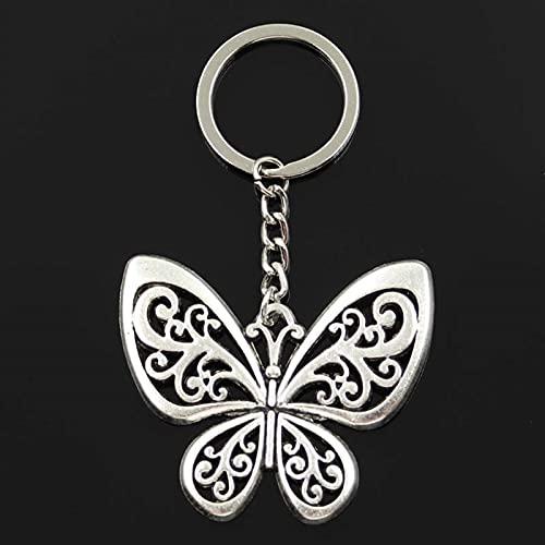 YCHH Moda in Metallo Portachiavi Keychain Keychain Antico Bronzo Colore Argento Placcato Cavo Farfalla Cavo Ciondolo Cavo (Color : Gold, Size : 5.0cm*5.7cm)