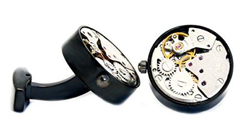 Steel Manschettenknöpfe Uhrwerk rund blackmetal Optik 18 mm Durchmesser glänzend + Silberboxohne Funktion