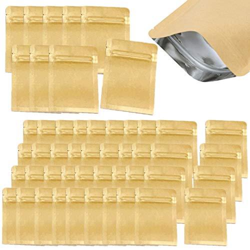 3world ジップ袋 クラフト紙 内面 アルミ シーラー 対応 SW1650 SSサイズ 7x10cm 業務用100枚