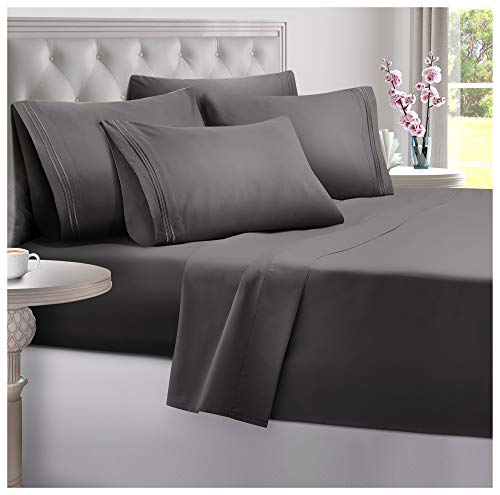 DreamCare 6 Piece Deep Pocket Sheets Microfiber Sheets Bed Sheets Bedding Sets Full Size, Gray