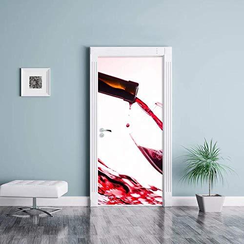 YQLKD Puerta Pegatina Pared Murales Vino Rojo Una Taza Fondos De Pantalla 3D Renovación DIY PVC Pegatinas Puerta Impermeable Autoadhesivo