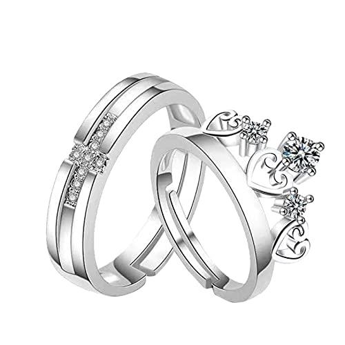 minjiSF Par de anillos con diamantes sencillos y clásicos, creativos, bonitas joyas, anillos de compromiso, anillos de amistad, para el día a día, anillos para los dedos (plata)
