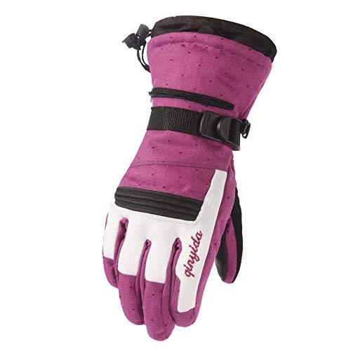 HANDSETL Touchscreen-Handschuhe Damen Winter Skifahren Warm Plus Samt Wasserdicht Outdoor Sport Radfahren Bergsteigen Alles Code Lila