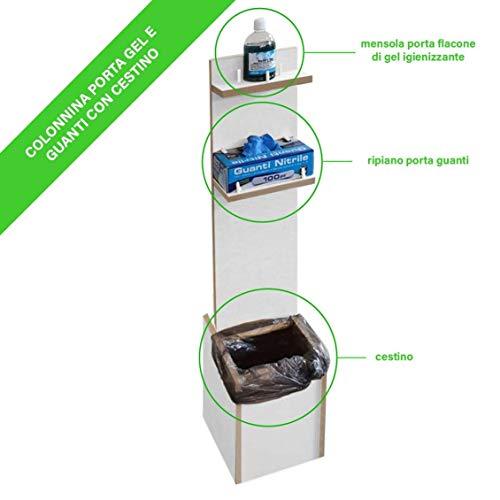 RMG-DISTRIBUZIONE Colonnina piantana Porta Dispenser Gel Guanti Copri Scarpe Cestino (Bianco)