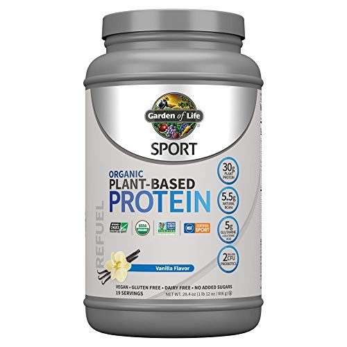Garden Of Life Sport Organic Plant-Based Protein - BCAA Amino Acid Protein Powder, Vanilla 28.4oz (1lb 12oz / 806g) Powder *Packaging May Vary*
