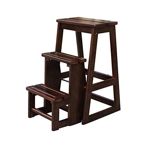 Stool Ladder- Escabeau en bois massif Tabouret multifonctionnel à trois couches avec repose-pieds (Couleur : Walnut color)