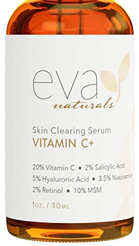 Eva Naturals Vitamin C Serum Plus 2% Retinol, 3.5% Niacinamide, 5% Hyaluronic Acid, 2% Salicylic Acid, 10% MSM, 20% Vitamin C - Skin Clearing Serum - Anti-Aging Skin Repair, Serum for Face (1 oz)