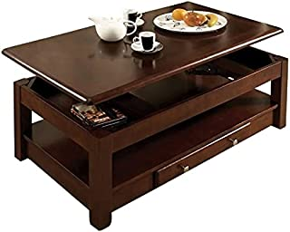 BOWERY HILL Solid Wood Lift Top Coffee Table with Storage, Hidden Casters, in Cherry Brown Oak