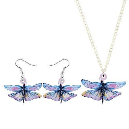 Collar Acrílico Azul Dulce de la libélula joyería Fija el Collar de Insectos Animal de la Manera Pendientes for Las Mujeres de Chicas y Regalos de Accesorios Collares de Mujer Hyococ (Color : Blue)