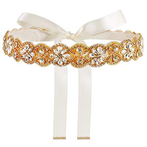 Yanstar Handmade Wedding Bridal Belts and Sashes Gold Crystal Rhinestone Ivory Ribbon Belt for Wedding Bridesmaid Prom Gowns