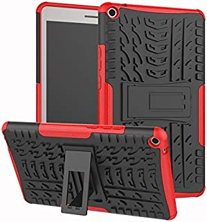 YHUISEN Hyun Pattern Dual Layer Hybrid Armor Kickstand 2 in 1 Shockproof Cover for Huawei MediaPad T3 8.0 inch 2017 Release (Color : Red)