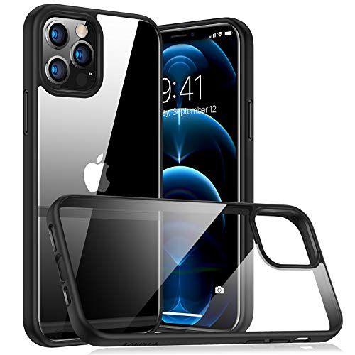 TORRAS Diamond Series Compatible with iPhone 12 Case/Compatible with iPhone 12 Pro Case 6.1 Inch (2020), Slim Shockproof Hard PC Back with Soft Edge Phone Case, Black