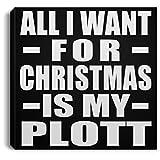 Designsify All I Want For Christmas Is My Plott - Canvas Square Lona Cuadrado 20x20 cm Mural Decor - Regalo para Cumpleaños, Aniversario, Día de Navidad o Día de Acción de Gracias