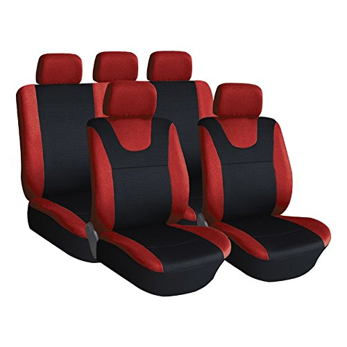 Red Black Xtremeauto ss5293.type6 Full Set of Universal Fit Car Seat Covers Sticker Included