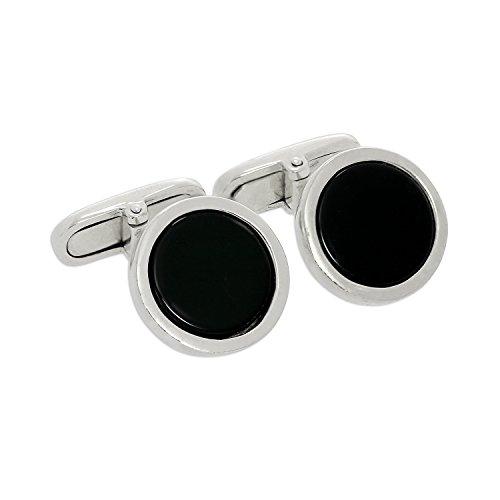 Boutons de Manchette Rond Noirs en Or Blanc 9 Carats - A Tête Pivotante