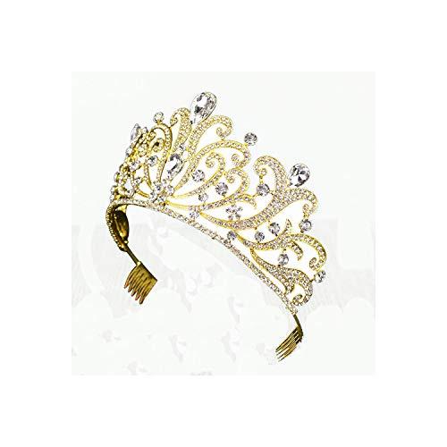 Trendy Goud Zilver Kleur Kristal Grote Koningin Kroon Voor Bruiloft Grote Tiara Haar Sieraden Voor Bruids Goud