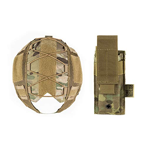 OneTigris Helmet Cover for Fast PJ Helmet M/L Size & Tactical MOLLE Single Pistol Mag Pouch