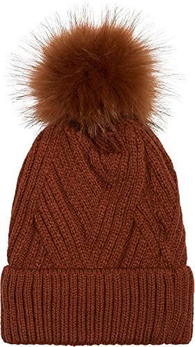 styleBREAKER Gorro de Mujer de Punto con pompón con Motivo de Punto Acanalado Diagonal y Forro Polar, Gorro de Invierno con pompón de Pelo, Pelo Artificial 04024167