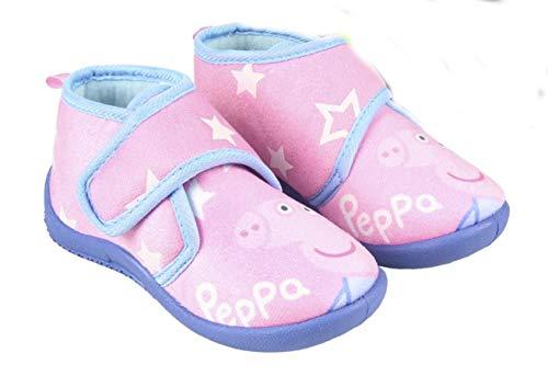 Peppa-Pig Bottines – Zapatillas de interior fosforescentes para niña, color rosa y azul del 23 al 28, Rosa (rosa), 21 EU Large