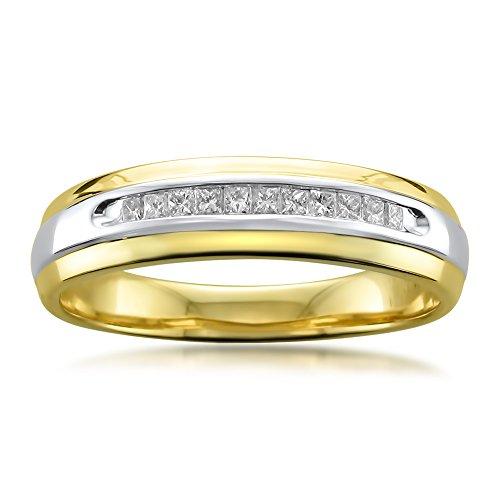 La4ve Diamonds 14k Two-Tone Yellow Gold with Rhodium Princess-Cut Diamond Men's Wedding Band Ring (1/4 cttw, I-J, I1-I2), Size 12