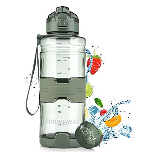 FORWEWAY Trinkflasche Sport 1,5 Liter BPA-Frei Wasserflasche Auslaufsicher Trinkflaschen Outdoor Tritan Kohlensäure Geeignet Sportflasche mit Filter Für Kinder Schule Gym Fitness Fahrrad Büro (Grün)