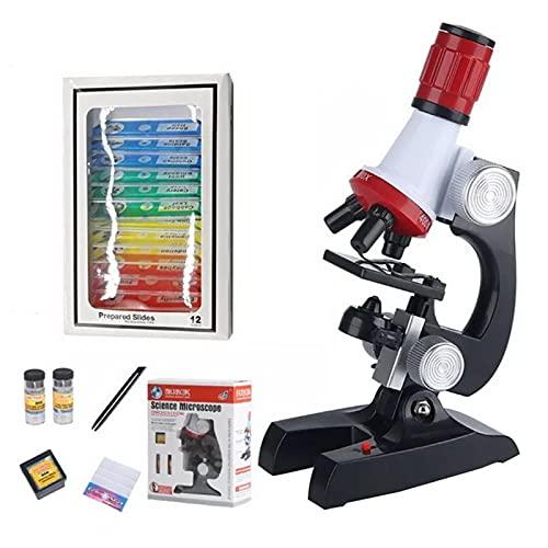 Lixiaonmkop Mikroskop Kit Lab LED 100x-400x-1200X Home School Pädagogisches Spielzeug Geschenk Raffiniertes biologisches Mikroskop für Kinder Kind neu (Color : Gold)