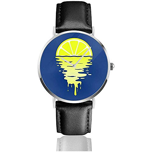 Unisex Business Casual Lemon Sunset Relojes Reloj de Cuero de Cuarzo