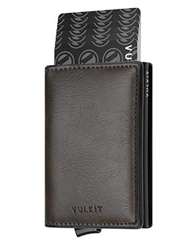 VULKIT Pocket Cartera Tarjetero Hombre Piel con Aluminio Caso RFID Bloqueo Tarjetero Minimalista con 3 Ranuras para Tarjetas y Billetes, Oliva Oscuro