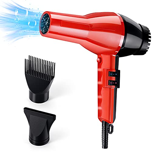 Ionic Hair Dryer Blow Dryer 1875W for Home & Salon,Professional Ionic Hair Dryer,with 2 Nozzles,2 Speed,2 Heat Settings,Fast Drying Powerful Hair Dryer For Women and Men