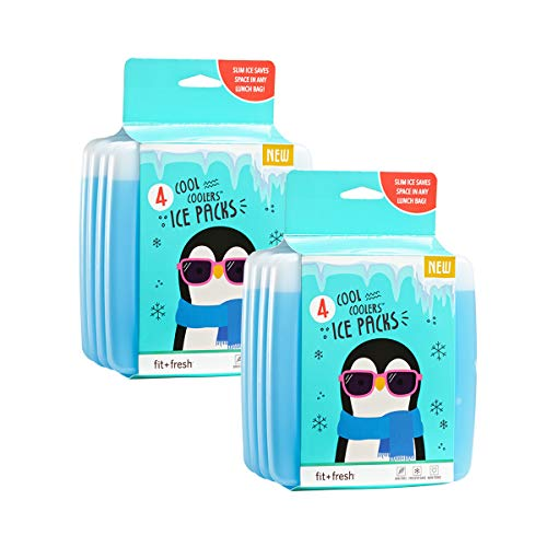Fit + Fresh Cool Coolers Slim Ice Packs, Reusable...