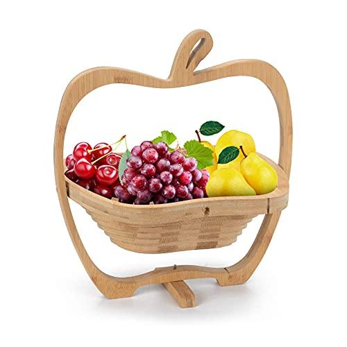 qiuqiu Cesta De Frutas De Bambú Plegable, Cuenco De Exhibición con Soporte...