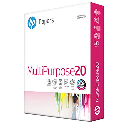 HP Printer Paper 8.5x11 MultiPurpose 20 lb 1 Ream 500 Sheets 96 Bright Made in USA FSC Certified Copy Paper HP Compatible 112000R