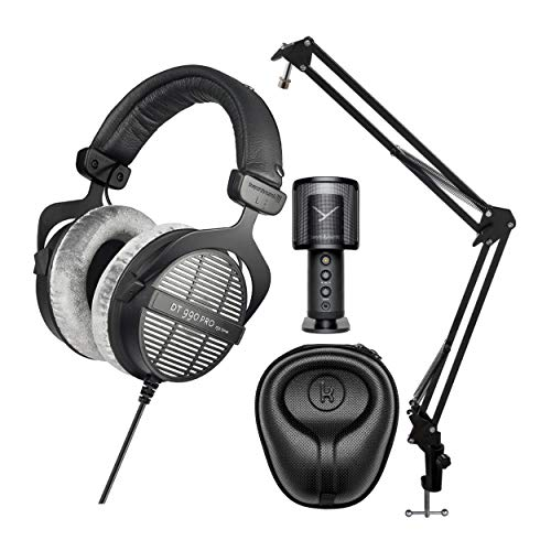 beyerdynamic DT-990 Pro Acoustically Open Headphones (250 Ohms) Fox Professional USB Studio Mic, Knox Gear Mic Suspension Arm, and Knox Gear Hard-Shell Case Bundle (4 Items)