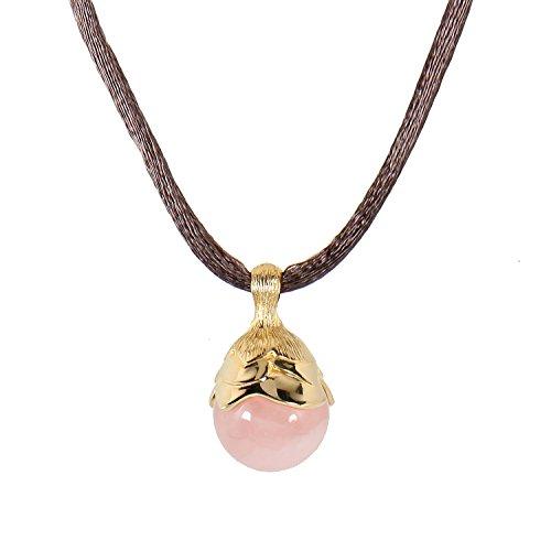 ISA Belle - Collier da Donna in Argento Sterling 925 Placcato Oro e Quarzo Rosa