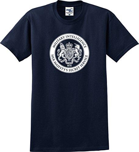 James Bond Inspired MI6 Her Majesty's Secret Service T-Shirt (S-5X) (Large, Navy)