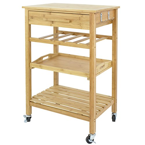Nova Microdermabrasion Rolling Kitchen Island Cart Storage Utility Trolley Cart W/Storage Drawers Stainless Steel Countertop