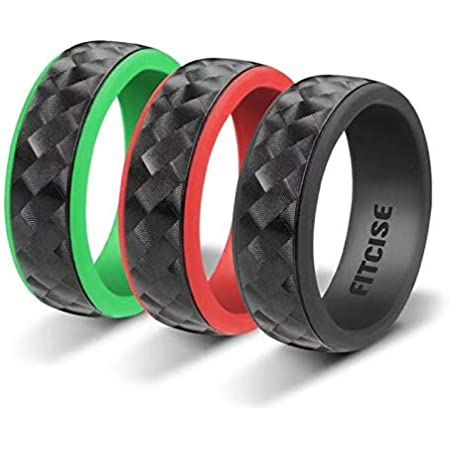 Silicone Wedding Ring for Men Stylish Safe Comfortable 10 Pack 9 mm Wide Tire Grain Sports Rubber Bands