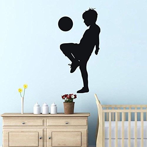 """BIBITIME 16.92"""" x 33.85"""" Boy Playing Football Wall Decal Teen Soccer Ball Silhouette Vinyl Sticker for Nursery Bedroom Children Kids Sport Fans Rooms Home Art Murals (Black, 16.92"""" x 33.85"""")"""