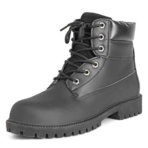 Heren lederen werk veiligheid stalen teen duurzame rubberen zool enkel laarzen