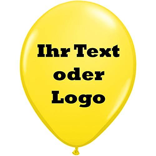 partydiscount24 50 Luftballons Bedrucken Kleinauflage - Preis für 50 Stück 1-seitig/1-farbig (Ballonfarbe - Gelb, Druckfarbe - Blau)