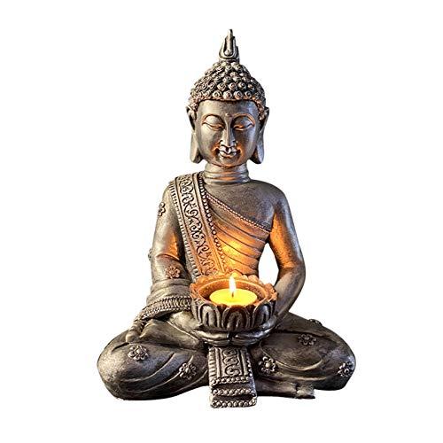 DSFSAEG Soporte para velas con estatua de Buda, soporte para velas de té de Buda, para sala de estar, jardín, decoración del hogar, accesorio de aromaterapia (plata B)