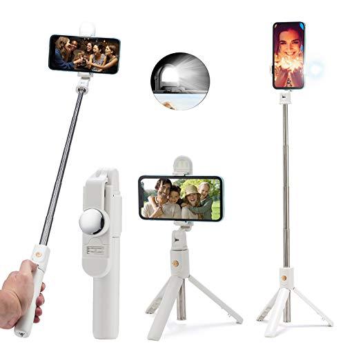 Palo Selfie Tripode con Luz, 3 en 1 Selfie Stick Móvil Bluetooth con Control Remoto para Viaje Autofoto, Video, Youtube, Volg, Monópode Extensible para iPhone Samsung Huawei Xiaomi - Blanco
