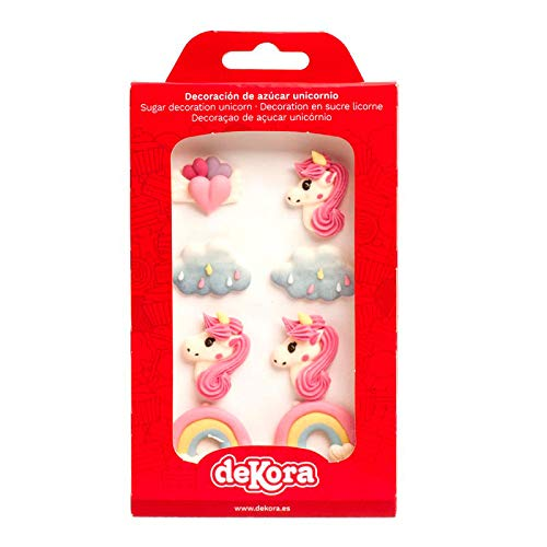 Dekora - Pack de 8 Decoraciones de Azúcar (Unicornio, Arcoiris, Nubes y Corazones), Decoraciones para Tartas de Cumpleaños