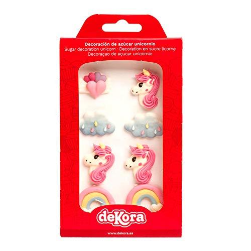 dekora 230042 Cupcake Decoration Gateau Forme des Licornes, Nuages et Coeurs-Pack de 8 Figurines comestibles, Sucre, Multicolore, Taille Unique