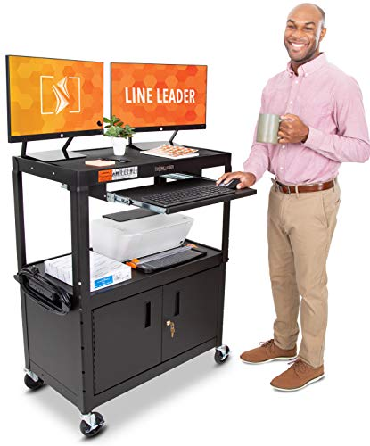 Line Leader Large AV Cart with Locking Cabinet   Height Adjustable Utility Cart   Includes Pullout Keyboard Tray & Cord Management   Easy Assembly (32in x 18in x 42in / Black)
