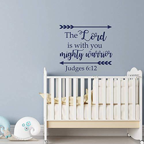 adesivo murale adesivo murale 3d bambini Giudici 6:12 Bible Verse The Lord Is With You Mighty Warrior Per la stanza dei bambini della scuola materna