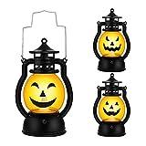 Kürbis Licht - 3 Stk, Vintage Kürbis laterne, Tragbare Kürbis Led, Halloween Deko Kürbis Beleuchtet.(Dauer 72H/Stk)
